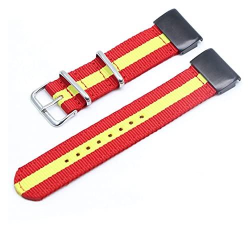 Lzpzz Banda de Reloj de la Correa de la OTAN Nylon 26 22 20 mm Muñeca Inteligente Banda de Reloj (Color : 20mm, Size : Red Yellow)
