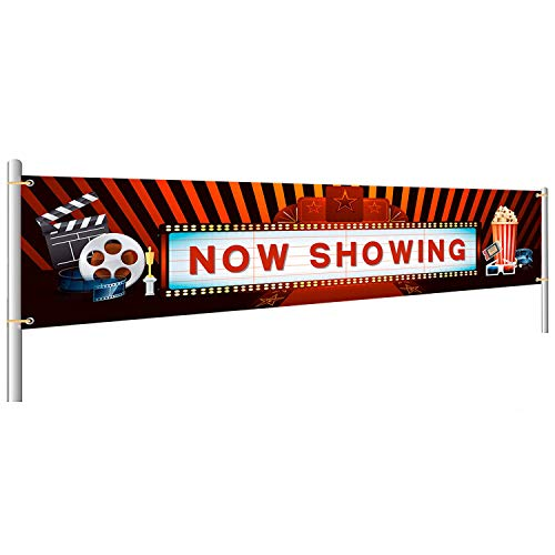 Now Showing Banner Movie Night Party Decoration Hollywood Photography Background for Birthday Baby Shower Party Supplies
