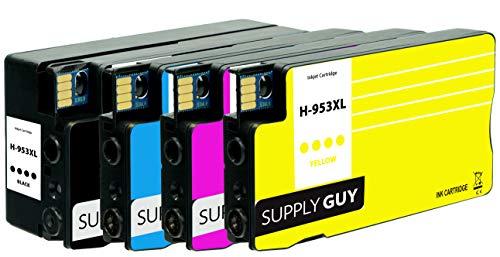 SupplyGuy 4 Cartuchos Compatible con HP 953 XL (Chip Junio 2021) para OfficeJet Pro 7700 7720 7730 7740 8200 8210 8216 8218 8710 8715 8718 8719 8720 8720 8725 8730 8740