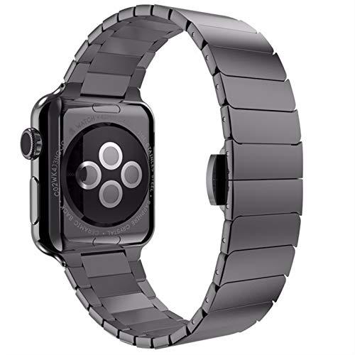 GZMYDF For la Correa de Acero Inoxidable de Apple Venda de Reloj de 44 mm 40 mm 42 mm 38 mm Bandas de la Mariposa de Metal Pulsera de IWatch Banda for la Serie 5 4 3 6 Se