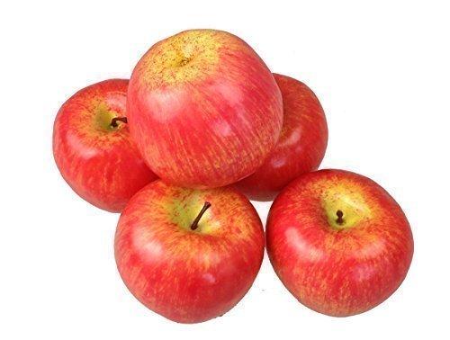 Deko Kunstobst Kunstgemüse künstliches Obst Gemüse Dekoration Apfel (rot, 5 Stück schweren Qualität)