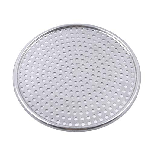 Beafavor Non-Stick Round Shape Pizza Baking Tray Stainless Steel Fluted Pizza Pans with Holes Home Kitchen Accessories (Flat 10 Inch)