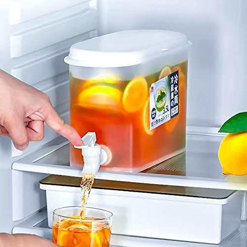 SXFGL Dispensador de Bebidas Hervidor con Grifo, 3,5 L con Abrazadera de Bloqueo Dispensador de Bebidas, Frigerator Hervidor frío Tetera de Frutas Cubo de Limonada, Dispensador de plástico (Blanco)