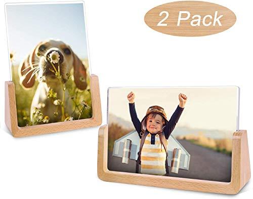 Teamkio 2 Pack Bilderrahmen 10x15CM Holz Fotorahmen mit Acryl Design Nordischer Natur Buche Massivholz und Transparenten Hochauflösend Acryl für Bildanzeige im Haus/Büro (Horizontal + Vertikal)