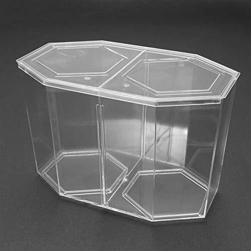 ZANGAO Doppel Kunststoff klar Sechseck geformten Aquarium Betta Guppy-Fisch-Behälter-Kasten-Fisch Zucht Isokoffer Aquarium Tierbedarf 1.6L (Color : White, Size : L)