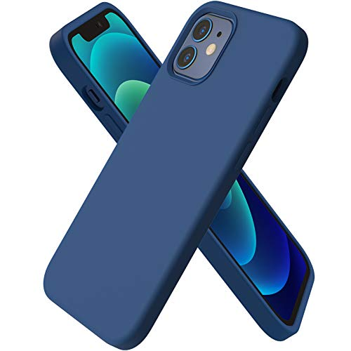 ORNARTO Compatible with iPhone 12 Case 6.1 and iPhone 12 Pro Case, Slim Liquid Silicone 3 Layers Full Covered Soft Gel Rubber Case Cover 6.1 inch-Royal Blue