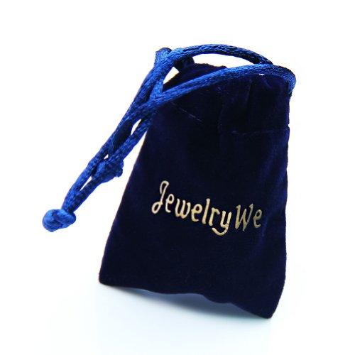 JewelryWe【無料刻印】ステンレスメンズドッグタグペンダント&ネックレスシンプルファション写真カスタマイズ名前入れ誕生日&記念日刻印彼氏にプレゼント銀色