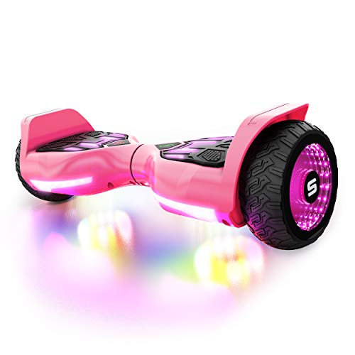 Swagtron Swagboard T580 Warrior Hoverboard with Speaker Synced Lighting FX Powered by LiFePo Battery Technology, Pink, 500W
