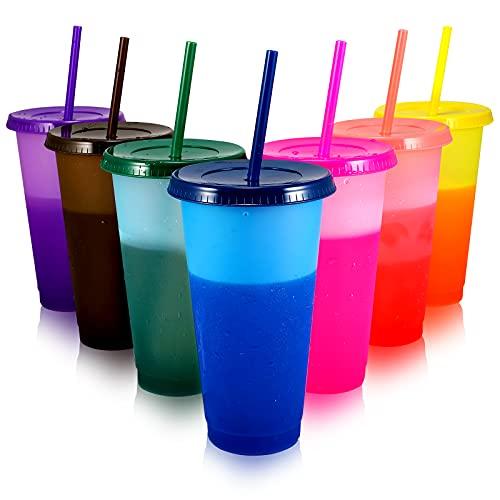Plastikbecher Becher Trinkbecher mit Strohhalm & Deckel - 710ml Groß Tasse Farbwechselbecher Plastik Becher Mehrweg Travel Mug Cup Tumbler Eiskaffee Kaltes Trinken Smoothie Saft - 7er Pack