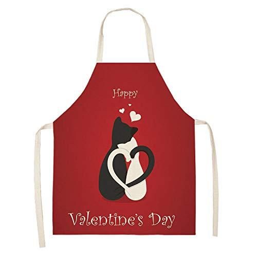 Delantal Cocina Hombre Delantal De Algodón Y Lino De La Serie De Impresión del Día De San Valentín Delantal Antiincrustante Multifuncional Modelos para Adultos Modelos para Niños-Wql0207-11_47X38