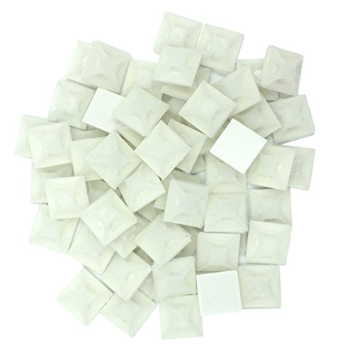 TOOGOO 66 Pcs Blanc Nylon Auto-adhesif base de fixation de fil de Torsion Attaches pour cables