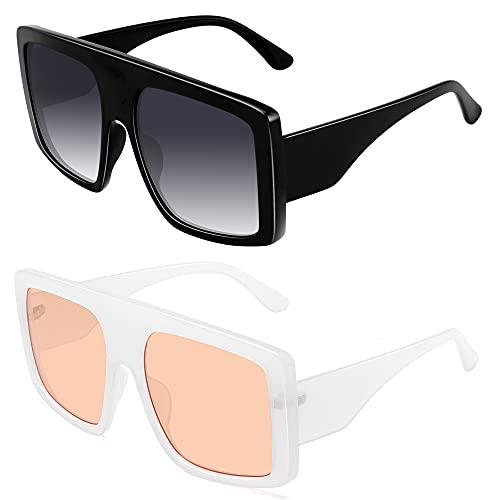 STORYCOAST Gafas de sol cuadradas de gran tamaño para las mujeres Escudo de moda plana Top Baddie Shades 100% protección UV400