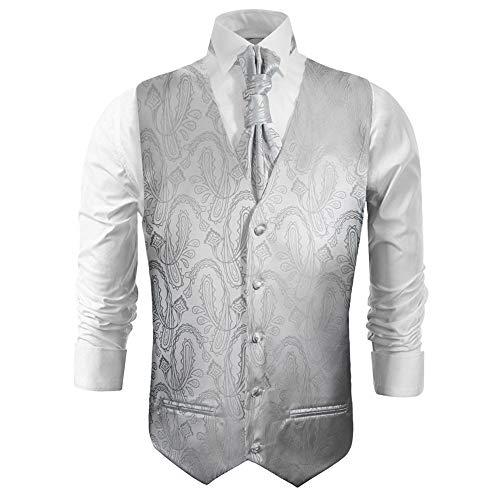 Paul Malone Hochzeitswesten Set 5tlg Silber Paisley - Herren Anzug Hochzeit Weste - Gr. 56 XL