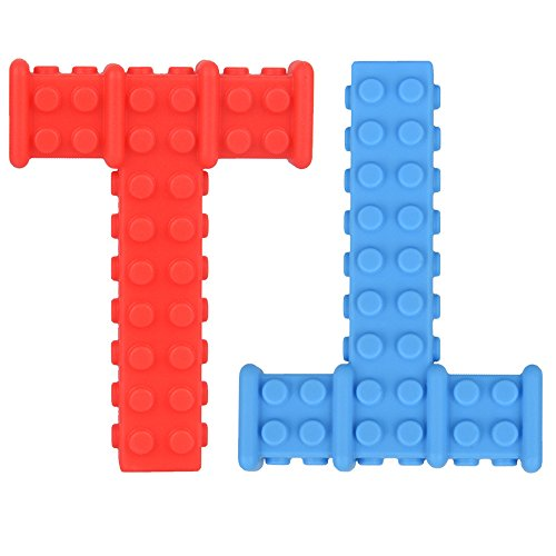 Big Sensory Chewy Brick for Kids, Boys and Girls - Designed for Teething, Autism, Biting, Chewing  2-Pack (Red and Blue)  Knobby Chew Stick  Super Chewie Stim Toys