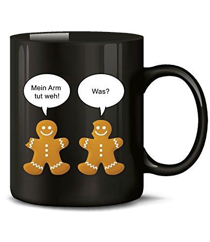 Golebros Weihnachten Mein Arm TUT WEH was Weihnachtstasse-n Weihnachtsbecher Weihnachtsdeko Lustig Witzig Fun Tasse Becher Kaffeetasse Kaffeebecher gebäck Lebkuchen Mann deko mit Spruch