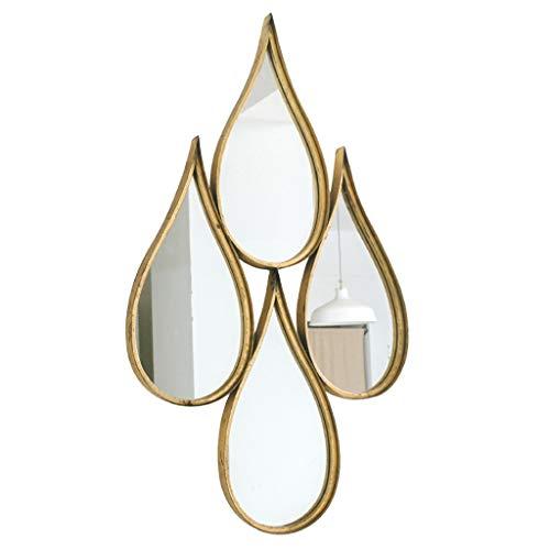 Miroirs Miroir Miroir Mural Européen Miroir De Maquillage Miroir Miroir De Salle De Bain Miroir À Maquillage Goutte D'eau Dorée Cadeau (Color : Gold, Size : 45 * 75cm)