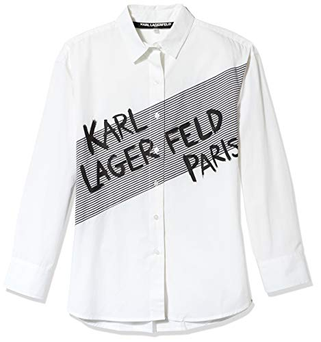 Karl Lagerfeld Paris Damen Karl Striped Blouse Button Down Hemd, Weich, Klein