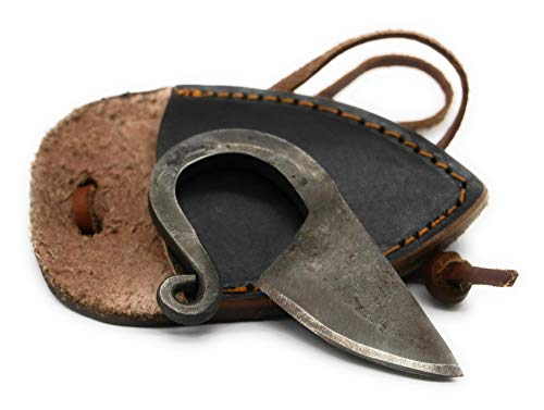 VikingsBrand - Hand Forged Viking Knife (Black Leather Sheath)   Unique Gifts for Men and History Lovers   Damascus Steel Celtic Neck Knife with Leather Necklace Cord   Viking Pocket Knives