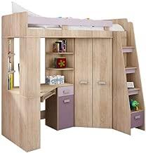Lit Mezzanine / Lit superposé - TOUT EN UN. Escalier à droite - Ensemble pour enfants. Lit superposé, bureau, armoire, étagères. (Chêne Sonoma / Violet)