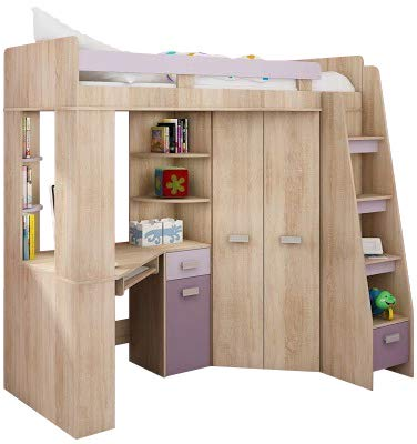 Hochbett/Etagenbett/Entresole – alle in einer rechts Ablesen Treppen – Kinder Möbel Set. Bett, Kleiderschrank, Regal, Schreibtisch Sonoma Oak - Purple