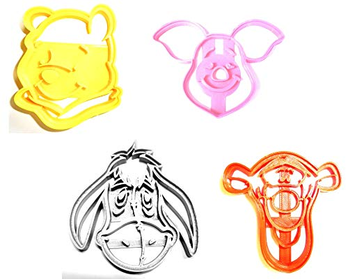 WINNIE THE POOH CARTOON BOOK CHARACTERS BEAR TIGGER EEYORE PIGLET SET OF 4 SPECIAL OCCASION COOKIE CUTTERS BAKING TOOL 3D PRINTED MADE IN USA PR493