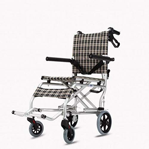GJX ultralichte oude opvouwbare rolstoel, aluminium legering licht reizen kinderen/oude mensen reizen kleine rolstoel, draagbare kleine wiel eenvoudige auto