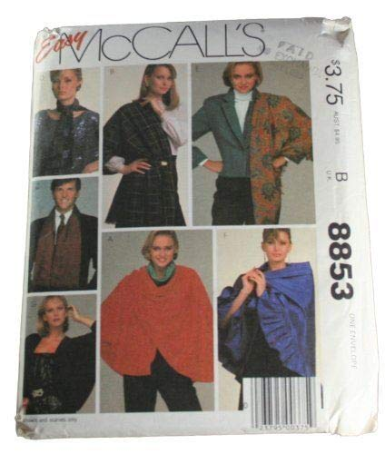 Unbekannt McCall's 8853 Schnittmuster Cape, Cover-Up, Schals und Schals, Größe 1