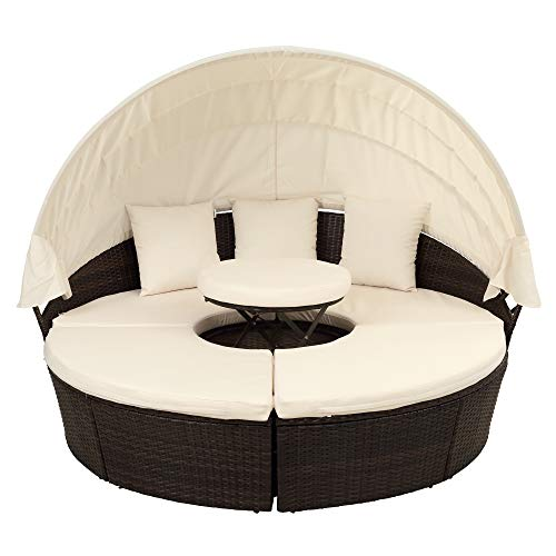 pedkit Outdoor Daybed Sunbed, Round Outdoor Sectional Sofa Set Rattan Daybed Sunbed with Retractable Canopy, Height Adjustable Table/Footrest, Separate Seating and Removable Cushion (Beige)