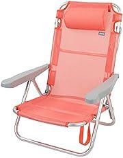Aktive 62628 - Silla de playa plegable con cojín, reclinable, 5 posiciones, con asa de transporte, 60x47x83 cm, altura 21 cm, coral