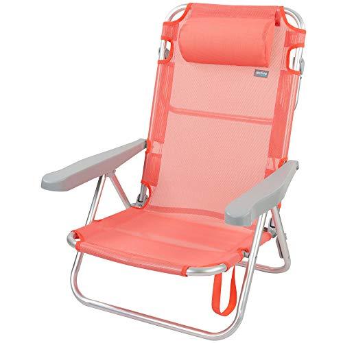 Aktive 62628 - Silla de playa plegable con cojín, reclinable, 5 posiciones,...