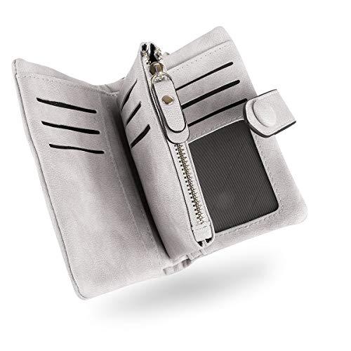 Conisy Portafoglio Donne di Blocco RFID in Pelle Morbido, Elegante Compatto Portatile Corto Borsellino per Signore (Grigio)