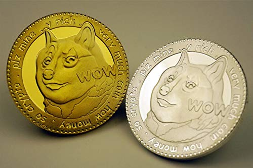 Metal Art Collection - Dogecoin Doge | to The Moon ! | Cryptocurrency Virtual Currency | Gold & Silver Plated Challenge Art Coin | Bitcoin (Set of 2)