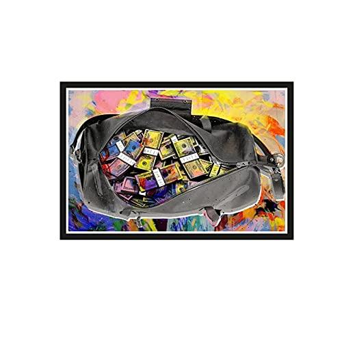 ZGHDHR Graffiti Art Bolsa llena de dinero Bolsa de dinero segura Lienzo Pintura Carteles e impresiones Decoración de la sala Arte de la pared Imágenes-60X80 CM Sin marco 1 pieza
