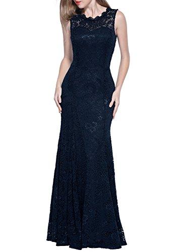 Miusol Damen Kleid Elegant Spitzen Sommer Rueckenfrei Aemerlos Langes Fishtail?Brautjungfer Cocktailkleid Dunkelblau Gr.L - 4