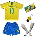 Brasilien Neymar Trikot Set #10 Heim 2018/19 Kinder Fussball Trikot Mit Shorts und Socken Kinder (11-12 Jahre)