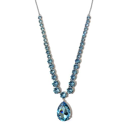 TJC J Francis Collar Necklace for Women Size 18 Inches Made with Swarovski Blue Crystal Gift for Wife/Girl Friend/Mother