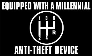 American Vinyl Equipped with a Millennial Anti Theft Device Bumper Sticker (car Drive Manual Gear Stick)