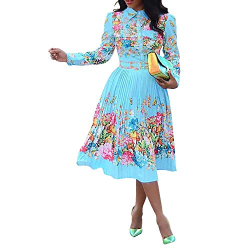 VERWIN Lapel Three-Quarter Sleeve Knee Length Pleated Floral Women's Sheath Dress (XXX-Large, Blue)