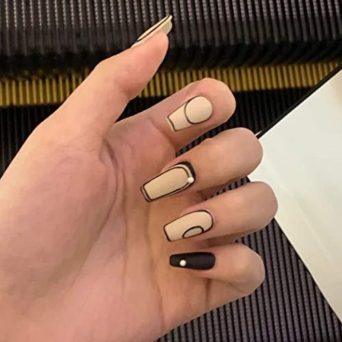Sethexy Französisch Matt Falsche Fingernägel Ballerina Schwarz Nägel aufkleben Sarg Falsche Nägel Perle Nägel mit Kleber 24St Acryl Kunst Nagelspitzen zum Aufdrücken für Frauen und Mädchen