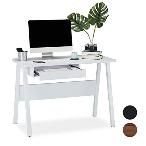 Relaxdays bureau met toetsenbordlade, ruimtebesparend en compact, groot werkblad, h x b x d: 77,5 x 110 x 58 cm, wit