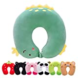 H HOMEWINS Travel Pillow for Kids Toddlers - Soft Neck Head Chin Support Pillow,Cute Animal in Any Sitting Position for Airplane,Car,Train,Machine Washable,Children Gifts (Green Dinosaur)