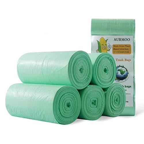 Bolsas de Basura Orgánica, Bolsas de Basura Biodegradable de 20L, AURMOO Grosor 0,71 MIL Bolsas de 100% Basura de Cocina Degradable y Reciclables. (5 Rollos, 150 Piezas, Verde)