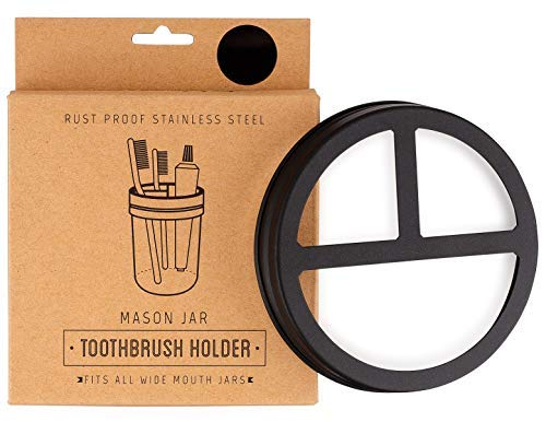 Jarmazing Products Mason Jar Toothbrush Holder Lid - Black - for Wide Mouth Jars - Made from Rust-Proof Stainless Steel