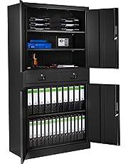 TecTake 402939 - Armario archivador con Cierre de Seguridad Negro, 5 Alturas + 2 cajones, Estructura de Acero, Sencillo Montaje