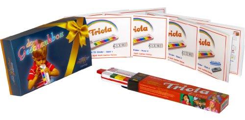TRIOLA 12 Geschenkpaket in der dc-Geschenkbox: die beliebte Blasharmonika für Kinder im Set mit den Liederbüchern Band 1-4