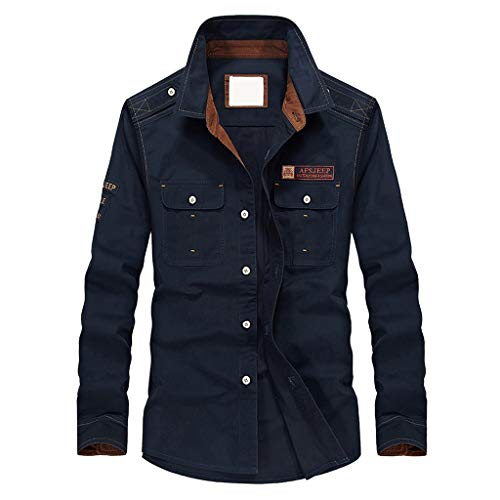 Uqiangy Mens Corduroy Lightweight Casual Slim Button Solid Sherpa Lined Trucker Jacket Coat(Dark Blue,M)