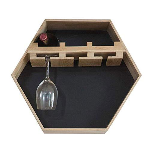 Yuany Flaschen-Weinregal, an der Wand befestigtes hängendes Wein-Kabinett-Hexagon-Holz für Flaschen mit Stemware-Glasspeicher