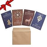 Weihnachtskarten mit Umschlag (20 Stk) - Faltbare Blanko Weihnachts Karte Adventskarten mit 4 Motiven (je 5x), Weihnachtskartenset mit Frohe Weihnachten und ein Gutes Neues Jahr Karten