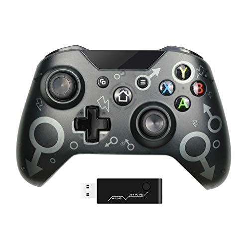 JINQII - Controller wireless con adattatore wireless da 2,4 GHz, compatibile con Xbox One/One S/One X/P3/Windows