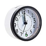 Yaosh Despertador en la cama, no tic tacing, funciona con pilas, juego sencillo, pequeños relojes con luz nocturna, manos brillantes, para viajes, dormitorio, oficina, negro